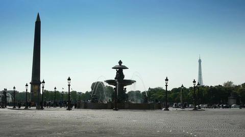 Place de Concorde. Paris, France Live Action