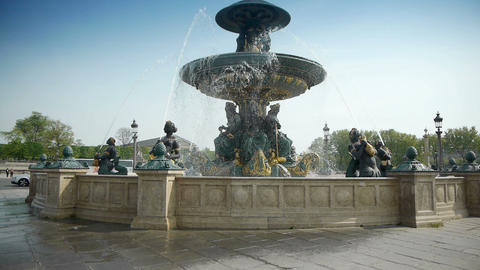 Monumental fountain at place de Concorde in Paris, France Footage