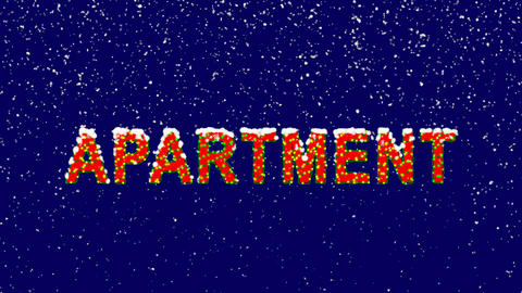 New Year text text APARTMENT. Snow falls. Christmas mood, looped video. Alpha Animation