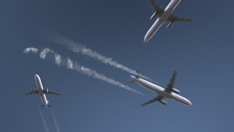 Flying airplanes reveal Cote D'Azur caption. Vacation travel conceptual intro Live Action