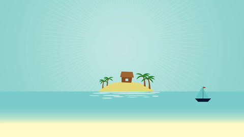 Island Water Scenery Video Motion Graphics Animation Background Loop HD Animation