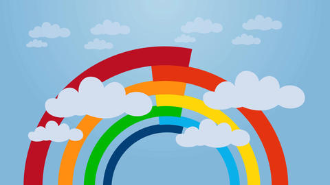 Rainbow Sky Animation Video Motion Graphics Animation Background Loop HD Animation