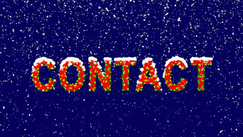 New Year text text CONTACT. Snow falls. Christmas mood, looped video. Alpha Animation