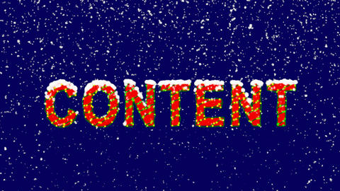 New Year text text CONTENT. Snow falls. Christmas mood, looped video. Alpha Animation
