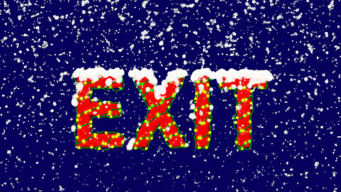 New Year text text EXIT. Snow falls. Christmas mood, looped video. Alpha channel Animation