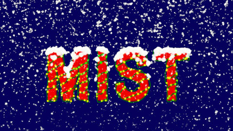 New Year text text MIST. Snow falls. Christmas mood, looped video. Alpha channel Animation