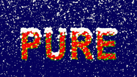New Year text text PURE. Snow falls. Christmas mood, looped video. Alpha channel Animation
