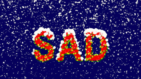 New Year text text SAD. Snow falls. Christmas mood, looped video. Alpha channel Animation