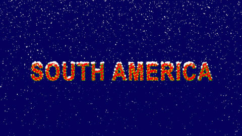 New Year text continent name SOUTH AMERICA. Snow falls. Christmas mood, looped Animation