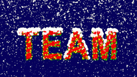 New Year text text TEAM. Snow falls. Christmas mood, looped video. Alpha channel Animation