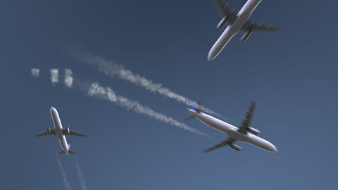 Flying airplanes reveal Ulan Bator caption. Traveling to Mongolia conceptual Footage