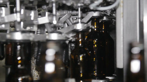 Technological Line For Bottling Of Beer In Brewery Footage