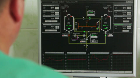 control system in the brewery where the beer production process display Footage