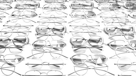 Many white glasses on white background Animation