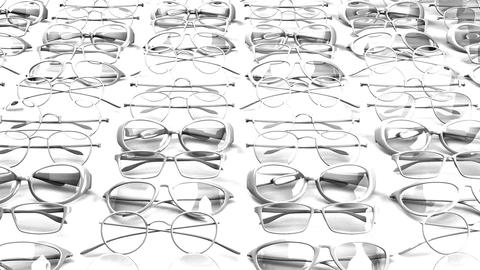 Many white glasses on white background Stock Video Footage