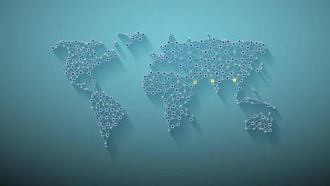 Global Network World Map Animation Video Motion Graphics Animation Background Animación