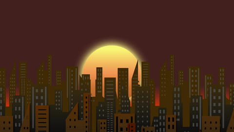 Rising Sun Building Time Lapse Animation Motion Graphics Background Loop HD Animation