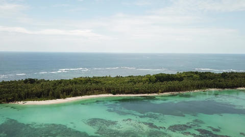Aerial panshot of desolated island with jungle in Panama Live Action