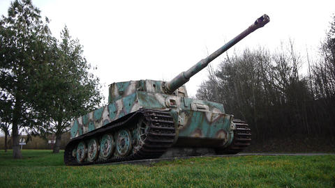 Long shot of a German tiger 1 tank in Normandy France Footage