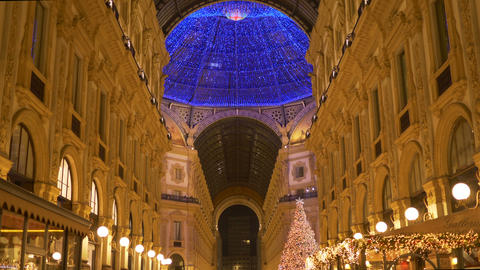 Christmas Milan Galleria Light Decoration Footage