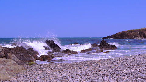 Waves at the Mediterranean coast, france Live Action