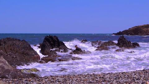 Beach at the Mediterranean coast, france Live Action