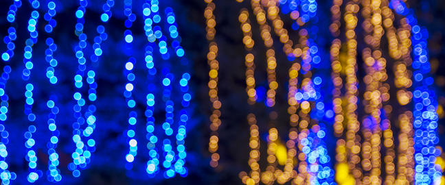 abstract blurred background with round blue and yellow bokeh Fotografía