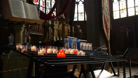 Candles in church Honfleur, France Footage