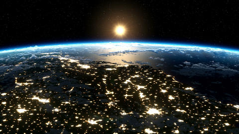 Sunrise over the Earth. Satellite view of North America, USA. Cities at night Animación