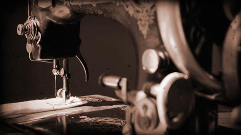 Antique sewing machine sepia Footage