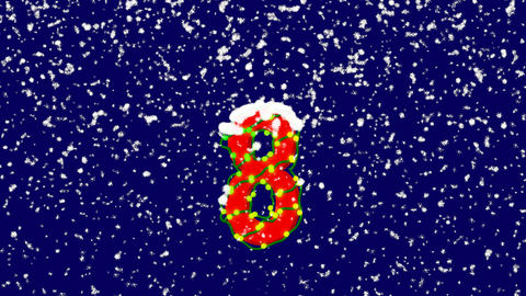 New Year text arabic numerals 8. Snow falls. Christmas mood, looped video. Alpha Animation