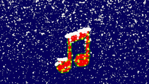 New Year text Beamed notes . Snow falls. Christmas mood, looped video. Alpha Animation