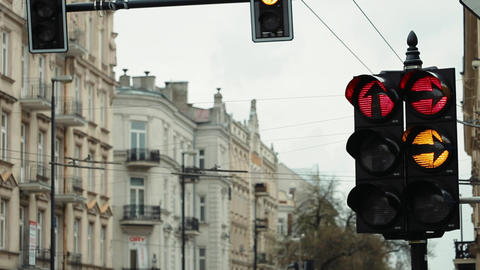 Hanging Traffic Light Regulates Cars Traffic Footage