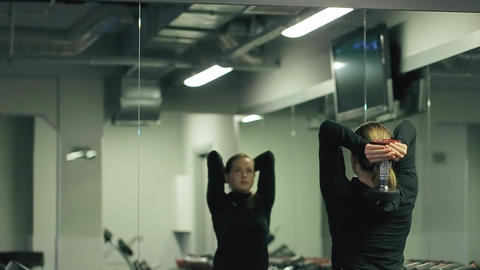Girl Training in Hall Dumbbell Over Head Footage
