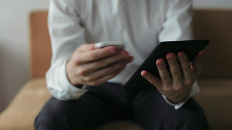 Businessman Hands Working on Tablet Computer Footage