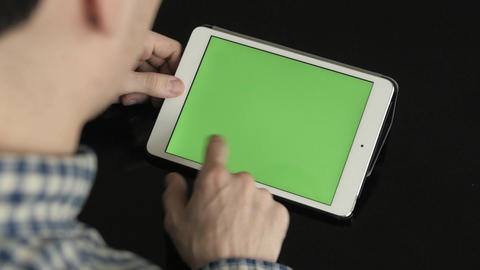 Businessman Using Digital Tablet with Green Screen Footage