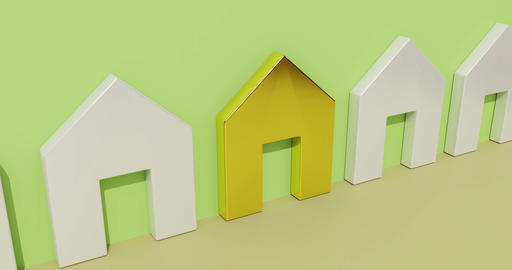Real estate animation. House purchase concept. 3d rendering Animation