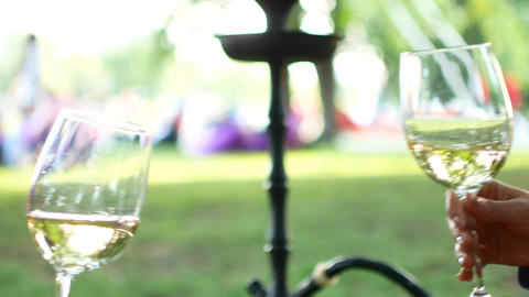 A close up shot of two wine glasses, romantic picnic for two Live Action