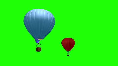 3d animation of Hot Air Ballon flying over green screen Animation