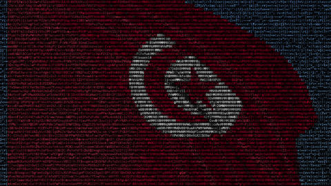 Waving flag of Tunisia made of text symbols on a computer screen. Conceptual Footage