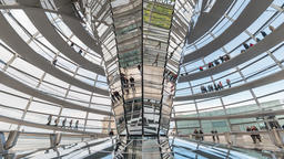 Berlin Germany time lapse 4K, timelapse inside glass dome of Reichstag Bundestag Footage