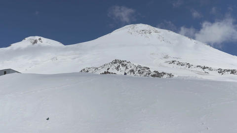 Two peaks of mount Elbrus. On a Sunny summer day Footage
