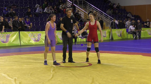 Orenburg, Russia - 28 January 2016: girls compete in freestyle wrestling GIF