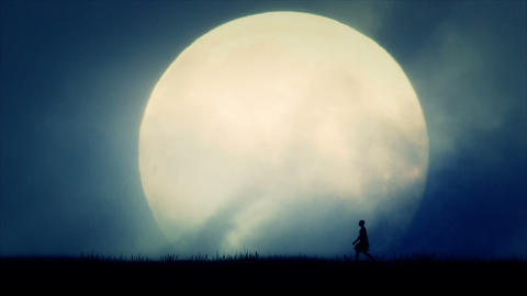 Ancient Civilization Man Walking on Full Moon Background Footage