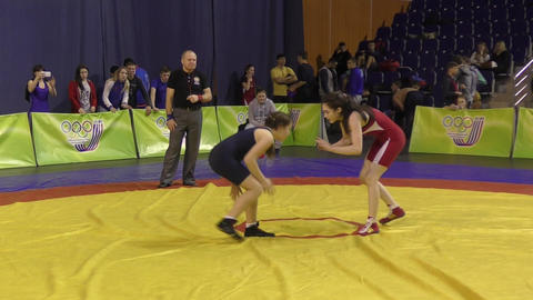 Orenburg, Russia - 28 January 2016: girls compete in freestyle wrestling Live Action