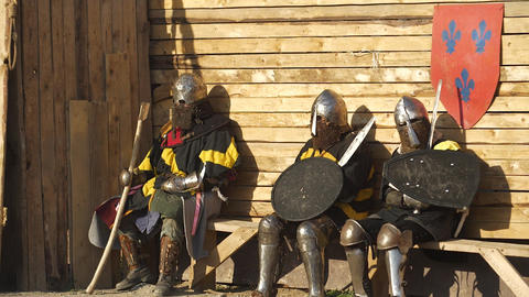 Warriors in armor await battles and prepare for battle Footage