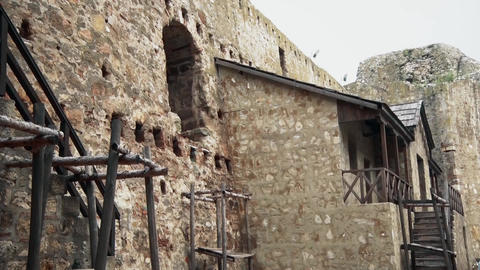 Old Fortress from the Middle Ages, House for living inside fortress Footage