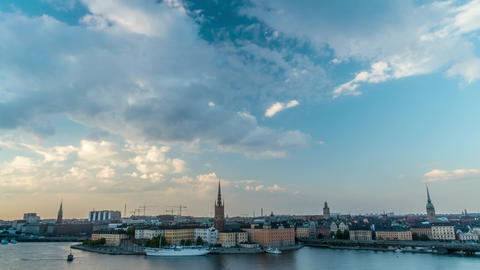Beautiful Sunset over Stockholm Sweden Time Lapse Footage