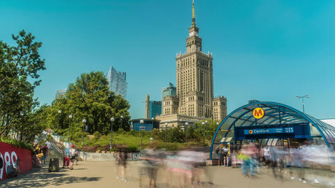 Warsaw Poland Palace of Culture and Science Time lapse Live Action