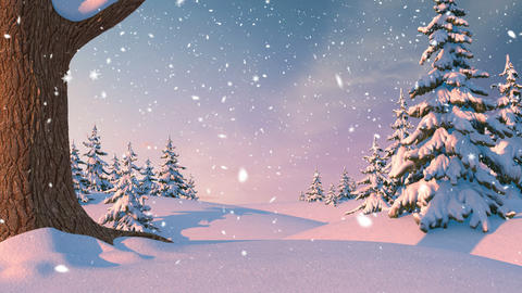 Christmas Background, Winter Forest Animation